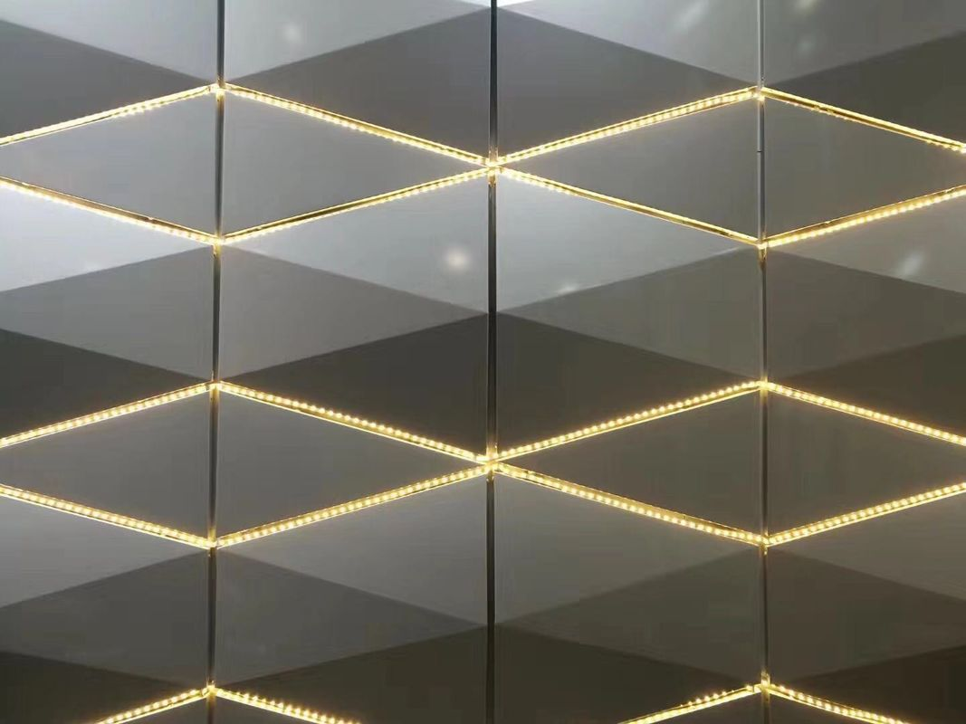 3D Design Aluminium Composite Panel Wall Cladding Material With LED Lighting Decoration